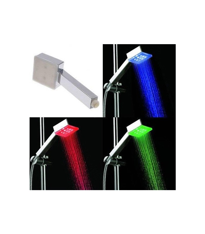 Ducha con luz led cuadrada for Led para ducha