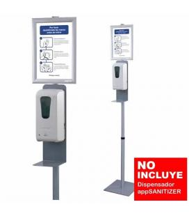 SOPORTE STAND PLATA APPROX STSANITIZER01 PARA DISPENSADOR APPSANITIZER - 300*300*(AJUSTABLE 1300-1700)MM - INCLUYE CARTEL INFORM