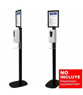 SOPORTE STAND NEGRO APPROX STSANITIZER02 PARA DISPENSADOR APPSANITIZER - 300*300*1544MM - INCLUYE CARTEL INFORMATIVO